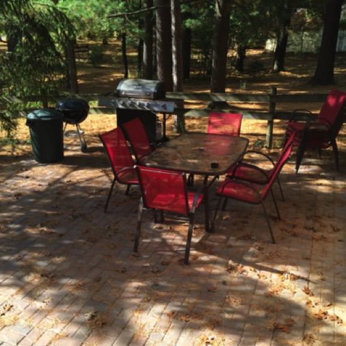 Private patio with 2 tables and both gas and charcoal grills. Chairs and tables for 10.